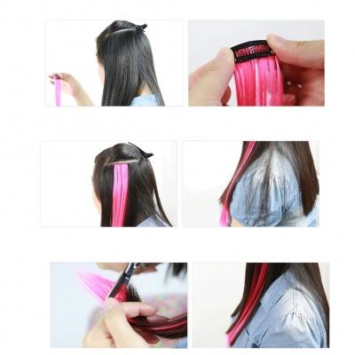 Clip Extensions Kunsthaar Glatt Haarverlängerung Lila Neonpink - 2