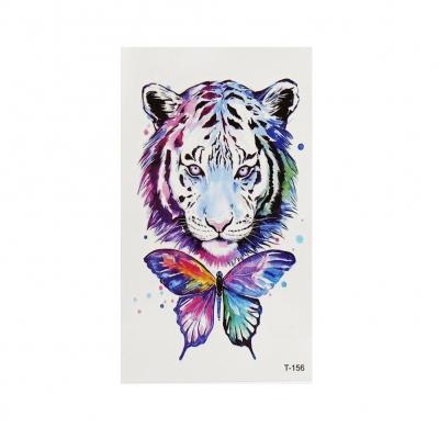 Temporäres Tattoo Tiger Schmetterling Bunt Design Temporary Klebetattoo Körperkunst - 1
