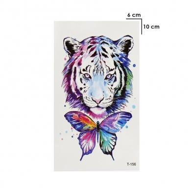 Temporäres Tattoo Tiger Schmetterling Bunt Design Temporary Klebetattoo Körperkunst - 2