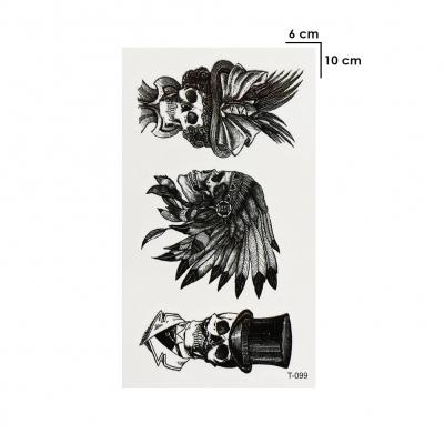 Temporäres Tattoo Totenkopf Indianer Schwarz Design Temporary Klebetattoo Körperkunst - 1