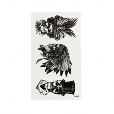 Temporäres Tattoo Totenkopf Indianer Schwarz Design Temporary Klebetattoo Körperkunst - 2