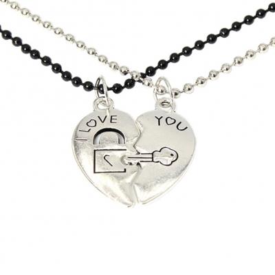 2 x Halskette I Love You Geschenkidee Valentinstag Herz Anhänger Set - 1