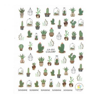 3D Nagel Sticker Nail Art Aufkleber Kaktus Kakteen Aufkleber New Design - 1