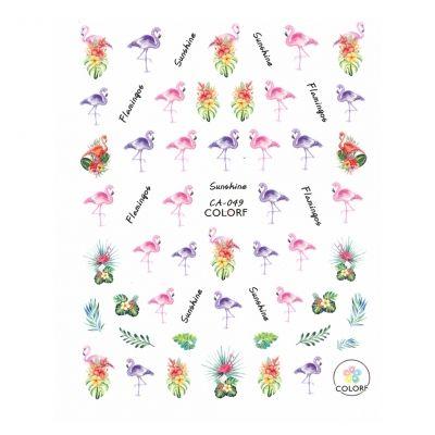 3D Nagel Sticker Nail Art Aufkleber Flamingos Blumen Aufkleber New Design - 1