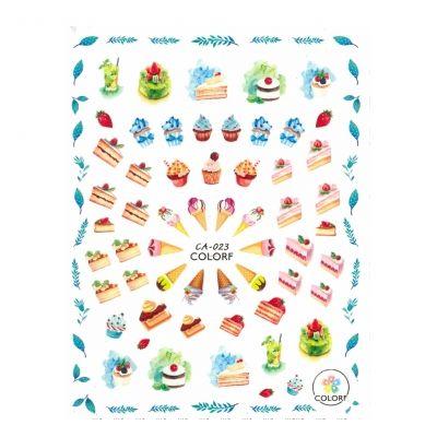 3D Nagel Sticker Nail Art Aufkleber Cupcake Erdbeeren Torte Aufkleber New Design - 1