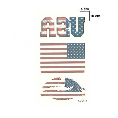 Temporäres Tattoo USA Fan Fahnen Kussmund Set Design Klebetattoo - 1