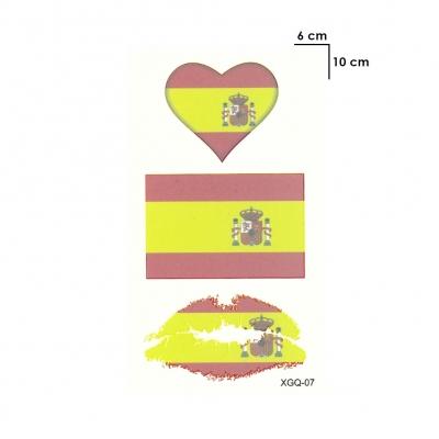 Temporäres Tattoo Spanien Fan Fahnen Herz Kussmund Set Fußball Design Klebetattoo - 1