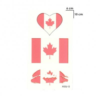 Temporäres Tattoo Kanada Fan Fahnen Herz Kussmund Set Design Klebetattoo - 1