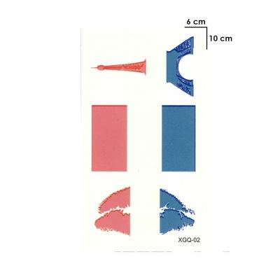 Temporäres Tattoo Frankreich Fan Fahnen Eiffelturm Kussmund Set Design Klebetattoo - 1