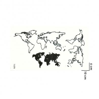Temporäres Tattoo Weltkarte Erde Schwarz Design Temporary Klebetattoo Körperkunst - 1