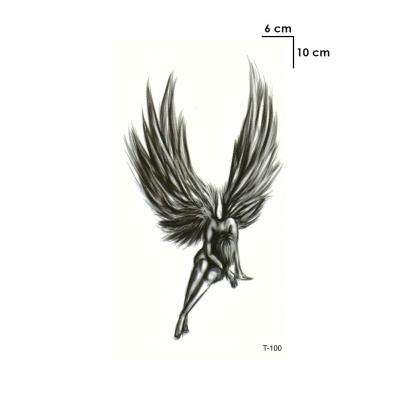 Temporäres Tattoo Engel Fee Schwarz Design Temporary Klebetattoo Körperkunst - 1