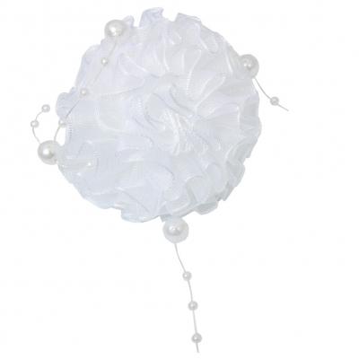 Mädchen Haargummi in der Farbe Weiß mit Perlen - 1
