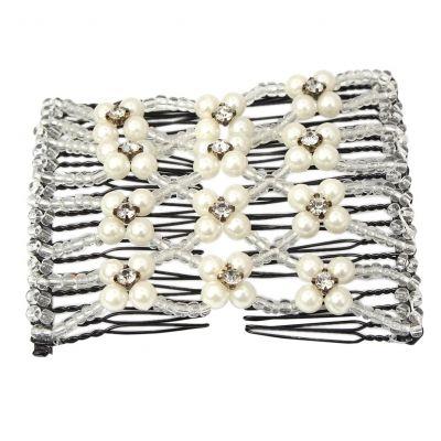 Trend Magic Combs Perlen und Strass Weiß - 1