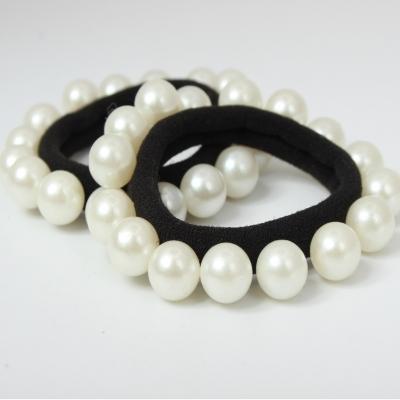 Nylon Haargummi mit Perlen Zopfband schwarz - 1