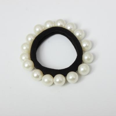 Nylon Haargummi mit Perlen Zopfband schwarz - 3