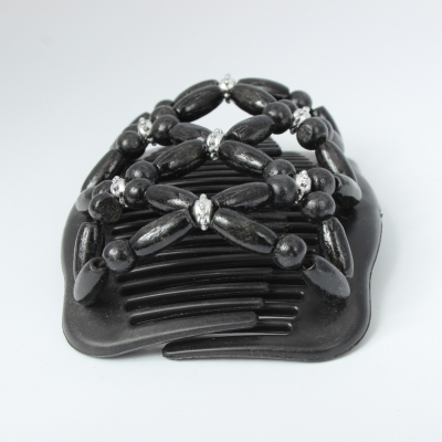 Trend African Hairclip Haarklammer in Blüten Design Schwarz - 1