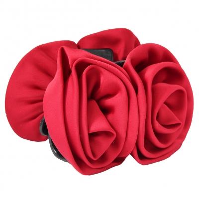 Haarklammer Blüten Lotusblume Haargreifer Krabbe Klammer Pferdeschwanz Clip in der Farbe Rot - 2