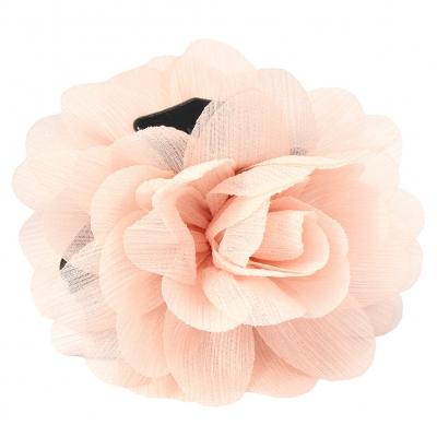 Haarklammer Blüten Lotusblume Haargreifer Krabbe Clip mit dezentem Glitzerstreifen in der Farbe Beige - 2
