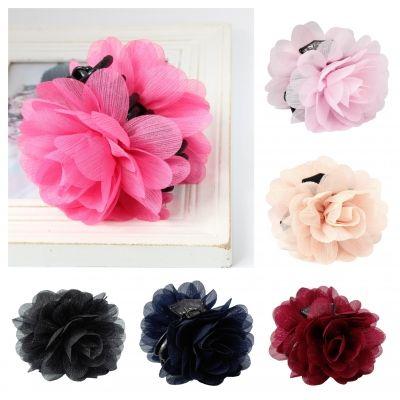 Haarklammer Blüten Lotusblume Haargreifer Krabbe Clip mit dezentem Glitzerstreifen in der Farbe Rosa - 1