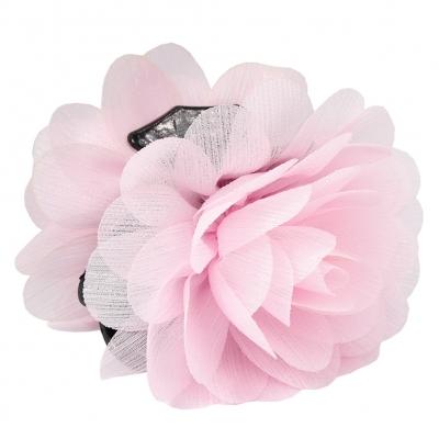 Haarklammer Blüten Lotusblume Haargreifer Krabbe Clip mit dezentem Glitzerstreifen in der Farbe Rosa - 2