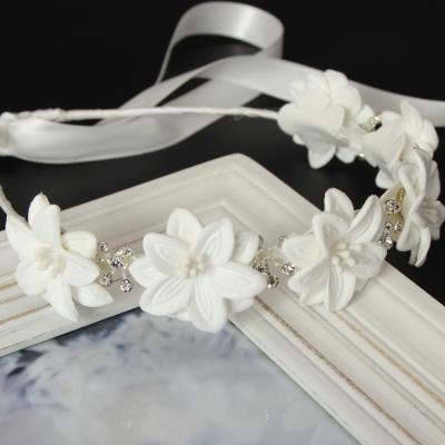Luxus Haarreif mit Strass Kopfschmuck Kommunion Hochzeit Blumenkranz Weiß - 1