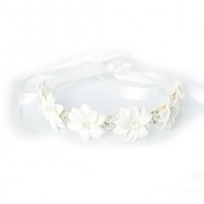 Luxus Haarreif mit Strass Kopfschmuck Kommunion Hochzeit Blumenkranz Weiß - 2