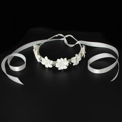 Luxus Haarreif mit Strass Kopfschmuck Kommunion Hochzeit Blumenkranz Weiß - 3