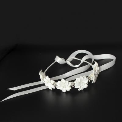 Luxus Haarreif mit Strass Kopfschmuck Kommunion Hochzeit Blumenkranz Weiß - 4