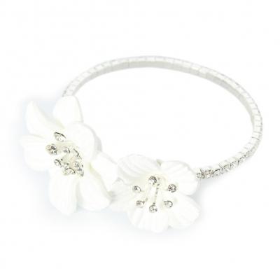 Straß Armband mit Blumen Armschmuck Armreif Kommunion - 3