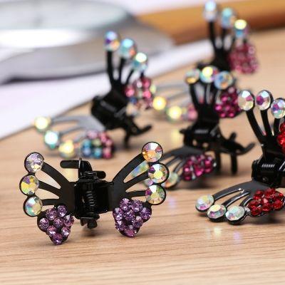 3 x Mini Haarklammern in Schmetterling Form mit Strass-Steinen bestückt - 2