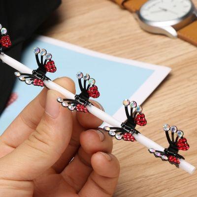 3 x Mini Haarklammern in Schmetterling Form mit Strass-Steinen bestückt - 4