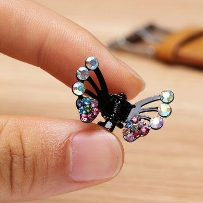 3 x Mini Haarklammern in Schmetterling Form mit Strass-Steinen bestückt - 5