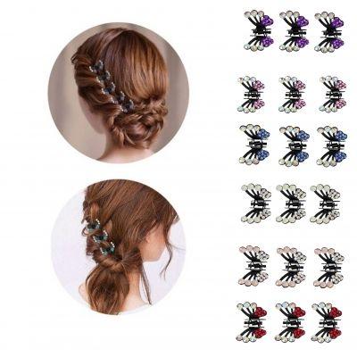 3 x Mini Haarklammern in Schmetterling Form mit Strass-Steinen bestückt Flieder - 1