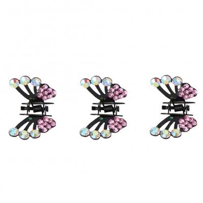 3 x Mini Haarklammern in Schmetterling Form mit Strass-Steinen bestückt Flieder - 2