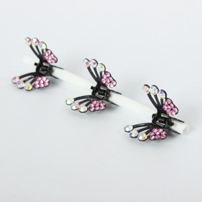 3 x Mini Haarklammern in Schmetterling Form mit Strass-Steinen bestückt Flieder - 3