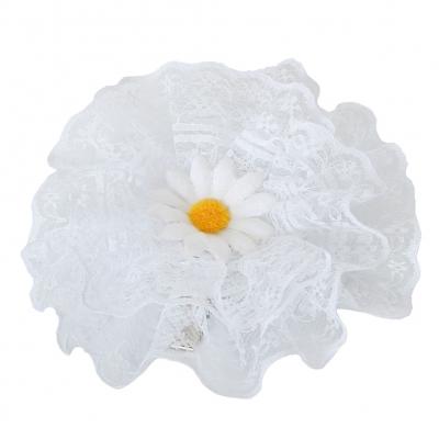 Mädchen Haarklammer Taufe Haarblume Blume Margerite Weiß - 2