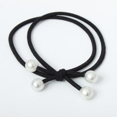 Haargummi mit Perlen Zopfband Schwarz 3er Set - 1