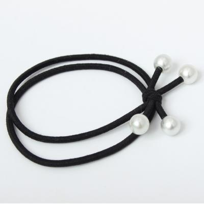 Haargummi mit Perlen Zopfband Schwarz 3er Set - 3