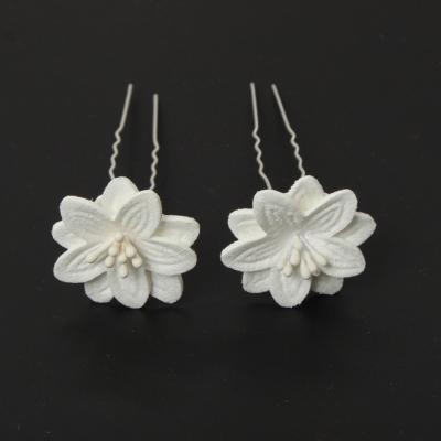 2 Große Blumen Haarnadel Braut Kommunion Hochzeit Hairpin Weiß - 1