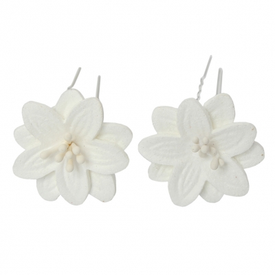 2 Große Blumen Haarnadel Braut Kommunion Hochzeit Hairpin Weiß - 2