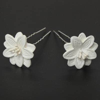 2 Große Blumen Haarnadel Braut Kommunion Hochzeit Hairpin Weiß - 3