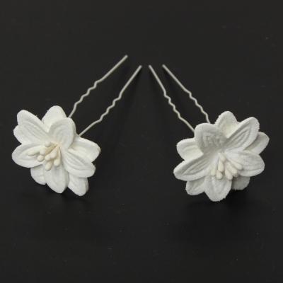 2 Große Blumen Haarnadel Braut Kommunion Hochzeit Hairpin Weiß - 5