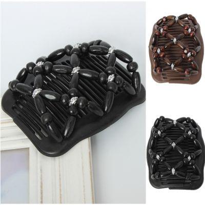 Trend African Hairclip Haarklammer Haarkamm Blüten Holzdesign Schwarz - 1