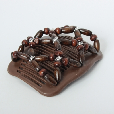 Trend African Hairclip Haarklammer Haarkamm Blüten Holzdesign Braun - 3