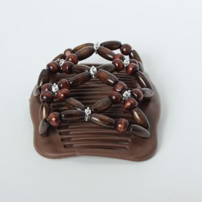 Trend African Hairclip Haarklammer Haarkamm Blüten Holzdesign Braun - 4