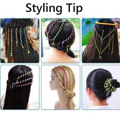 6 Haar Spiralen Bunt Frisurenhilfe Braider Flechten Styling-Zubehör mit Strass  - 1