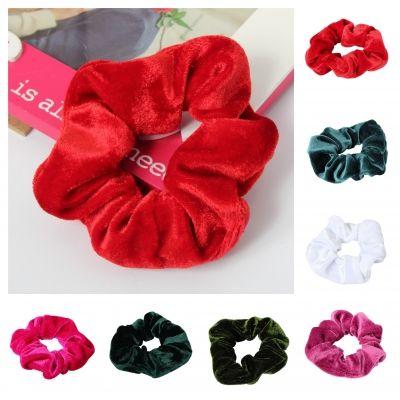 XL Velour Samt Haargummi Zopfgummi Haarband Pferdesschwanz Scrunchie Pink - 1