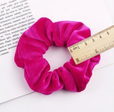 XL Velour Samt Haargummi Zopfgummi Haarband Pferdesschwanz Scrunchie Pink - 5