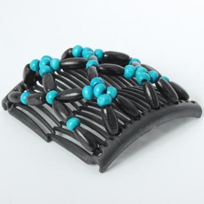 Trend African Hairclip Haarklammer Haarkamm Blüten Holzdesign Türkis - 3