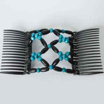 Trend African Hairclip Haarklammer Haarkamm Blüten Holzdesign Türkis - 5
